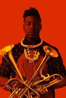 "With two of his self-designed horns, ""outtakes"" on the trumpet."
