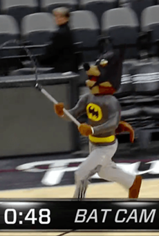 Video: San Antonio Spurs Mascot Catches Loose Bat in the AT&T Arena ... While Dressed in a Batman Suit