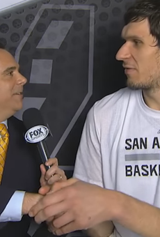 Boban's massive mitts engulfing the right hand of a reporter