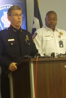 Chief William McManus with Fire Chief Charles Hood (left) brief the media on the IMPACT teams.