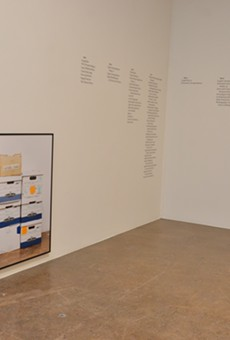 "Menjivar's installation is featured in Blue Star Contemporary's ""Please Form a Straight Line"" exhibit."