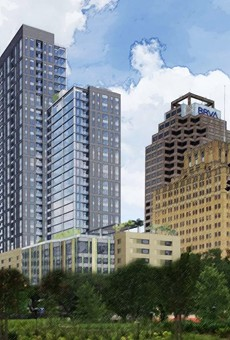 This drawing shows Weston Urban's proposed 32-story tower at 305 Soledad St. from Weston Houston Street. Courtesy Weston Urban