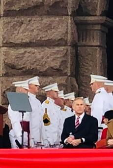 Outgoing Texas House Speaker Dennis Bonnen addresses the crowd at Gov. Greg Abbott's 2019 inauguration.