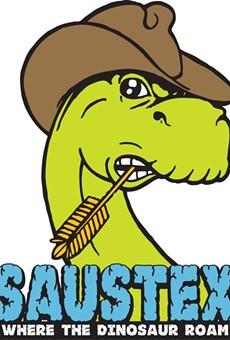 "The San Antonio label ""where the dinosaurs roam."""