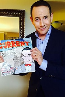 Paul Reubens (AKA Pee-wee Herman) at the 2016 South by Southwest Film Festival holding a copy of the August 5-11, 2015 issue of the San Antonio Current, which was dedicated to the 30th  Anniversary of Pee-wee's Big Adventure. Reubens was in Austin for the premiere of his new film Pee-wee's Big Holiday.