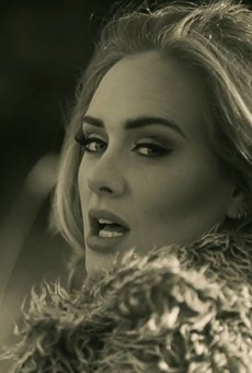 "A screenshot from the ""Hello"" music video"