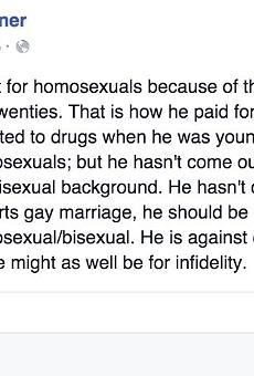 Mary Lou Bruner's Facebook post on President Obama.