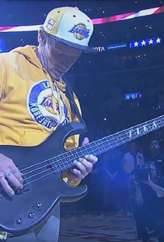 Flea performing the national anthem.