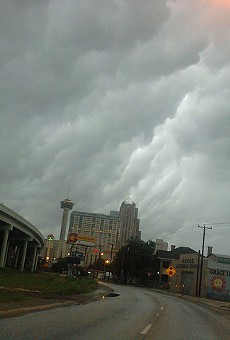 Storm clouds gather over Downtown.