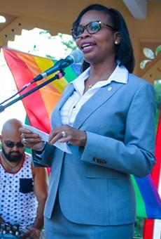 Mayor Ivy Taylor spoke at a vigil in Crockett Park Thursday night honoring the victims of the Orlando shooting.