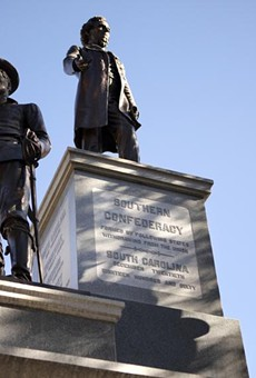 A 1903 Confederate monument stands at the south entrance to the Texas Capitol grounds.