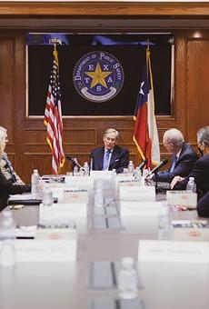 Gov. Greg Abbott speaks during Thursday's meeting with law enforcement officials.