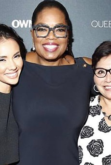 Marycarmen López and her mother alongside media icon Oprah Winfrey at the premiere of Winfrey's new TV project Queen Sugar for her OWN Network.