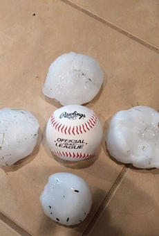Hail gathered from San Antonio's April 12 hail storm.