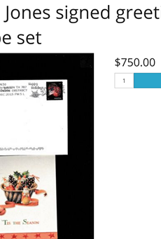"""This Christmas card from Genene Jones popped up on truecrimeauctionhouse.com this week, with the seller noting that correspondence from the notorious baby-killer is """"extremely rare."""""""