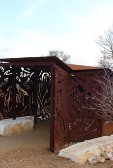One of two steel wildlife blinds designed by artists Ashley Mireles and Cade Bradshaw for the Phil Hardberger Park land bridge.