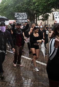 Black Lives Matter protesters march in downtown San Antonio last June.