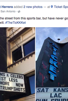 """Ticket Serving """"Trump Shots,"""" Takes Down """"Protest Less, Drink More"""" Sign"""