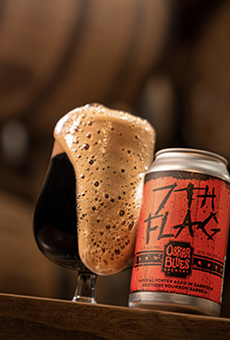The 7th Flag Barrel-aged Imperial Porter is a big, bodacious collaborator between Garrison Brothers Distillery and Oskar Blues Brewery.