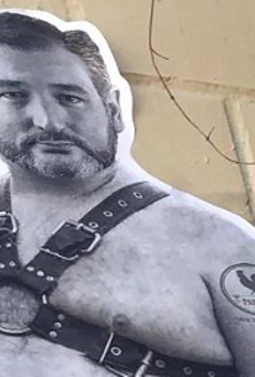 A twitter user spotted this wall sticker of Ted Cruz on the St. Mary's Strip.