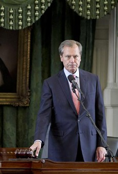 Former Texas Lt. Gov. David Dewhurst gaveled the Senate out for the 83rd regular session in 2013. Dewhurst was arrested in Dallas this week on a domestic violence charge, according to police.
