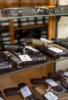 Hundreds of handguns and rifles for sale at McBride's Gun's in Central Austin on April 20, 2021.