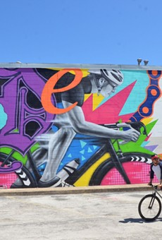 Local duo Los Otros celebrates the cycling community in the Pabst-sponsored mural Ride.