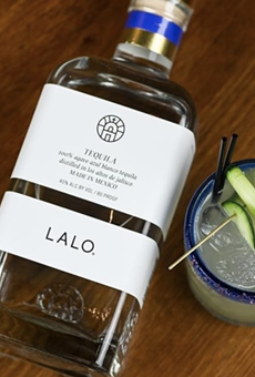 The Veracruz cocktail is made with LALO blanco tequila, muddled cucumber, mint, lime, Squirt soda and a grapefruit-habanero salt rim.