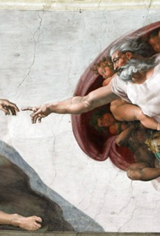 The Creation of Adam is among the Sistine Chapel frescoes recreated in the traveling exhibition.