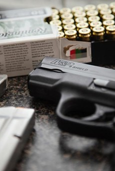 A M&P Shield handgun in Austin on April 23, 2021.