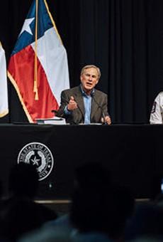 Gov. Greg Abbott speaks during Thursday's press conference in Del Rio.