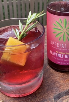 Chef Chris Cook's Hill Country Hibiscus Peach Smash is a great option for a summer splash sans alcohol.