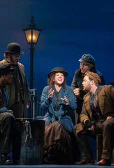 Shavey Brown, Mark Aldrich, Shereen Ahmed (center), William Michals and Colin Anderson in The Lincoln Center Theater Production of Lerner & Loewe's My Fair Lady.