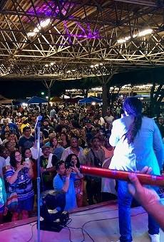 A live band entertains the crowd at a previous San Antonio Reggae Festival.