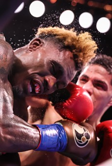 Castaño connects a forceful punch during Saturday's fight.