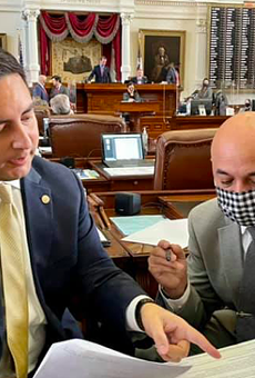 """State Rep. Philip Cortez (left) said he returned to Austin to negotiate in """"good faith"""" with Republicans on a controversial voting bill."""