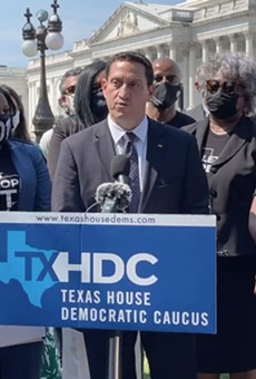 State Rep. Trey Martinez Fischer of San Antonio speaks at an appearance during House Democrats' stay in Washington D.C.