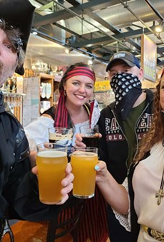 A team of pirates enjoys some refreshments.