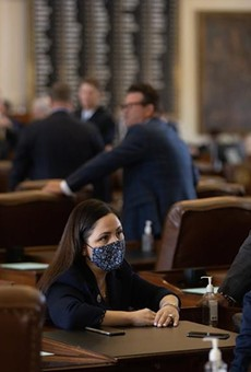 From left: Houston democratic state Reps. Ana Hernandez, Garnet Coleman, and Armando Lucio Walle on the House floor on Aug. 23, 2021.