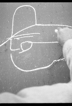 """Russell Butler's """"Colossus of Roads"""" image features a simple line-drawing profile of a trainman wearing a cowboy hat."""