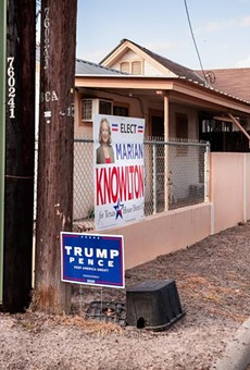 Signs for former President Donald Trump lined a street near downtown Rio Grande City last year.