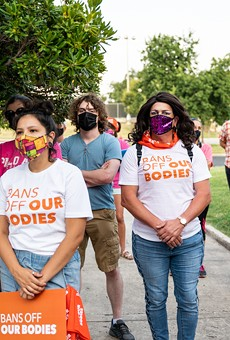 San Antonio women protest Texas' abortion ban last month after it was signed into law.