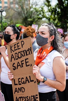 San Antonio women attend a recent rally against Texas' near-total ban on abortion.