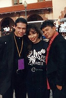 SA native Lupe Moreno with actors Jon Seda (left) and Jacob Vargas (right) at Sunset Station during shooting for the 1997 biopic Selena. Moreno, who auditioned for the title role, was instead hired as a stand-in and photo double for Jennifer Lopez.