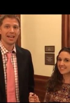 Rep. Matt Krause and Texans for Vaccine Choice organizer Jackie Schlegel discuss the bill.