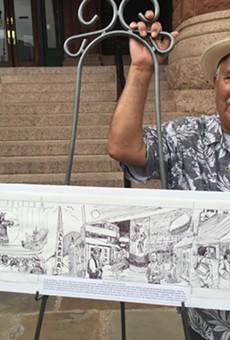 "Joe Lopez stands beside his rendering of San Antonio's ""the good old times."""