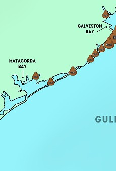 "Map represents ""medium"" and ""high"" levels of bacteria along the coast."