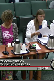 Women testifying at Friday's Health and Human Services Committee hearing.
