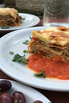 Greek pastitsio (foreground) and vegetable lasagna from Outlaw Kitchens.
