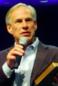 "Gov. Abbott speaking in an Austin Church during the ""National Day of Prayer."""